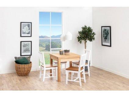 Bílá dřevěná jídelní židle Frisbe