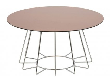Měděný skleněný konferenční stolek Goldy 80 cm s chromovou podnoží