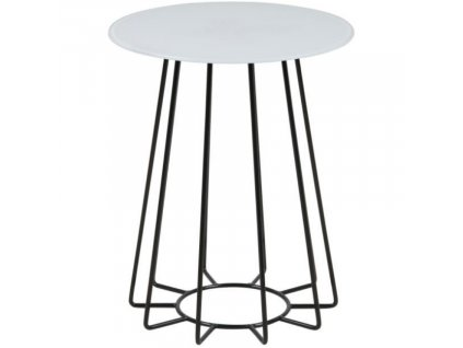 Bílý odkládací stolek Goldy 40 cm s černou podnoží