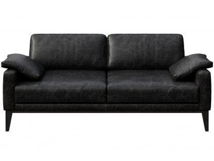 Černá vintage dvoumístná čalouněná pohovka MESONICA Musso pravá kůže