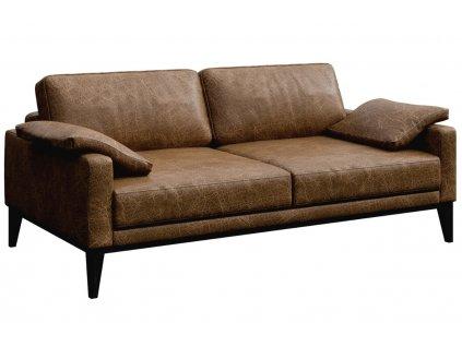 Hnědá vintage dvoumístná kožená pohovka MESONICA Musso 173 cm