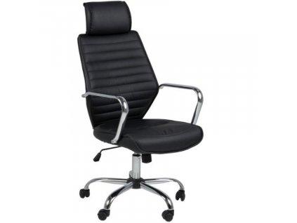 Černá koženková kancelářská židle Edua