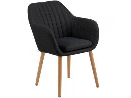 Antracitová látková jídelní židle Milla s prošíváním
