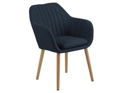 Modrá látková jídelní židle Milla s prošíváním