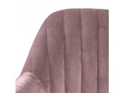 Světle růžová sametová jídelní židle Milla s černou podnoží