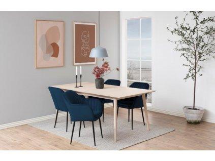 Modrá sametová jídelní židle Milla s černou podnoží