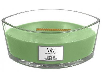 Vonná svíčka WoodWick loď, Hemp & Ivy