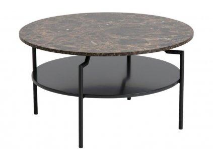 Hnědý mramorový konferenční stolek Stephan 80 cm