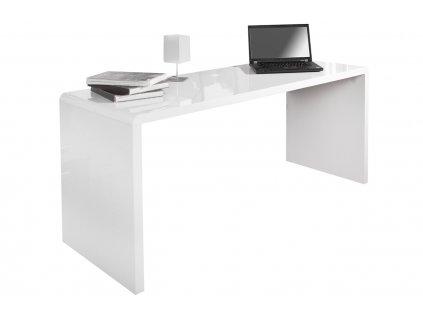 Bílý lesklý dřevěný pracovní stůl Bersh 120 cm