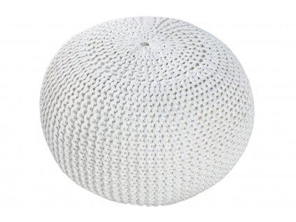 Bílý sedací pletený puf Fluffy 50 cm