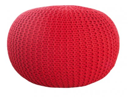 Červený sedací pletený puf Fluffy 50 cm