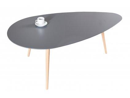 Grafitově šedý konferenční stolek Myra 115 cm s bukovou podnoží