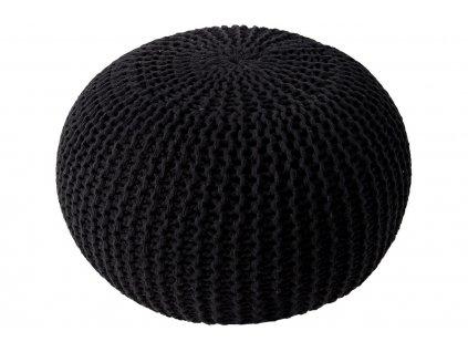 Černý sedací pletený puf Fluffy 50 cm