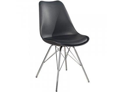 Tmavě šedá plastová jídelní židle  Ambro