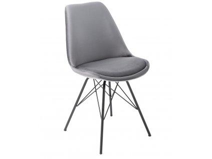 Šedá sametová jídelní židle Alara