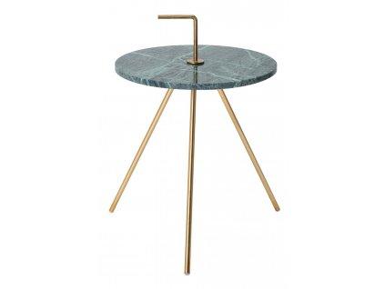 Zelený mramorový odkládací stolek Chavez 36 cm s kovovou podnoží