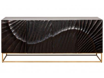 Černá masivní dřevěná komoda Remus 177 x 45 cm