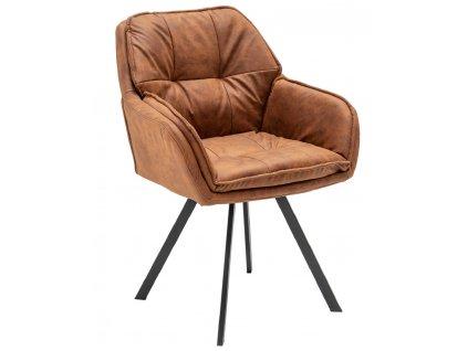 Hnědá čalouněná židle Tomy