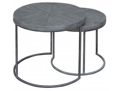 Set dvou šedých odkládacích akátových stolků Riccardo 50/40 cm