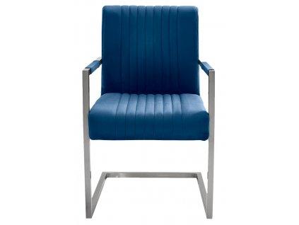 Modrá sametová jídelní židle Harmon s područkami s nerezovou podnoží