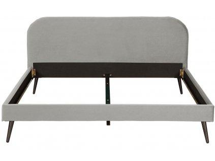 Stříbrně šedá sametová postel Allegra 160x200 cm