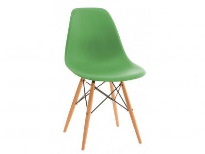 Čajově zelená plastová židle DSW s bukovou podnoží