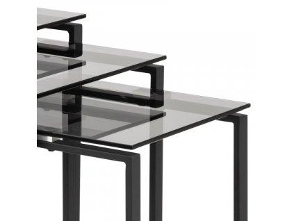 Černý set tří skleněných konferenčních stolků Divo