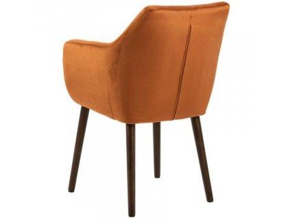 Koňakově hnědá sametová židle Marte s područkami