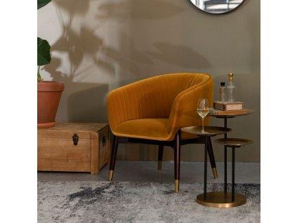 Okrově žluté sametové lounge křeslo DUTCHBONE DOLLY s dřevěnou podnoží