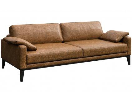 Hnědá vintage třímístná kožená pohovka MESONICA Musso 211 cm