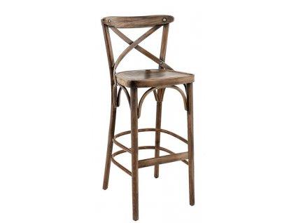 Hnědá dřevěná barová židle Shelby s patinou