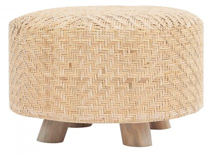 Světlý ratanový puf Weave s dřevěnou podnoží