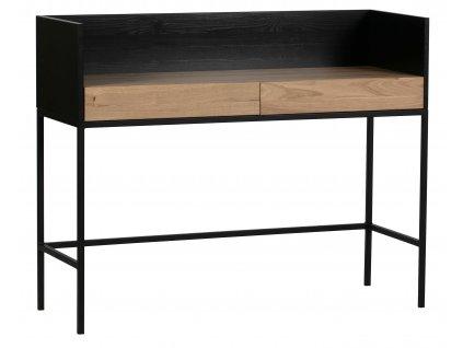 Černý dřevěný pracovní stůl Martin se zásuvkami