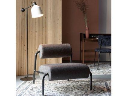 Tmavě šedé čalouněné lounge křeslo ZUIVER LEKIMA s kovovou podnoží
