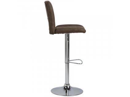 Hnědá sametová barová židle Richie
