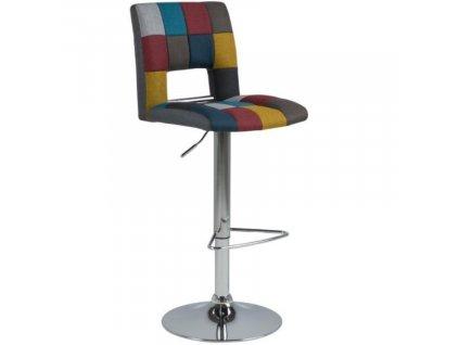 Patchwork látková barová židle Richie 62-83 cm
