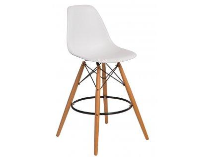 Bílá plastová barová židle DSW s bukovou podnoží 68 cm