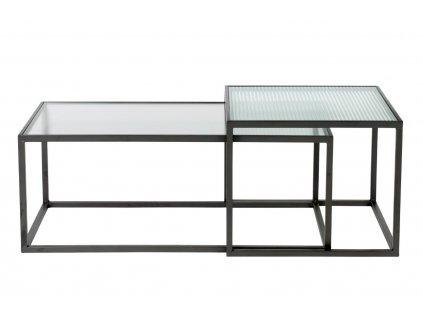 Set dvou skleněných konferenčních stolků DUTCHBONE Boli 45 x 90/ 50 x 50 cm