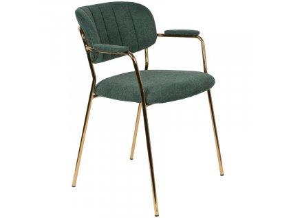 Zelená látková židle WLL Jolien s područkami