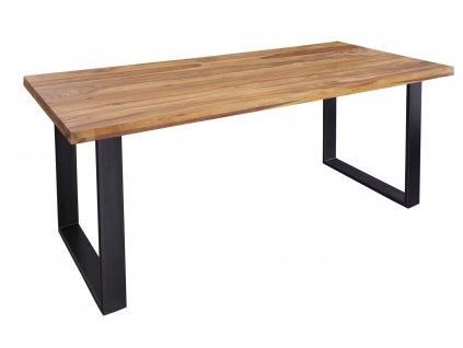 Masivní sheeshamový jídelní stůl Fabio 180 x 90 cm s kovovou podnoží