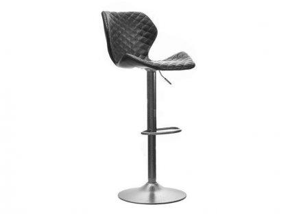 Černá koženková barová židle Kobra