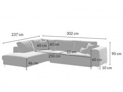 Tmavě šedá sametová rohová rozkládací pohovka DEVICHY Rothe, levá 302 cm