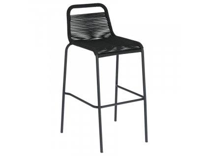 Černá proplétaná barová židle LaForma Glenville 100 cm