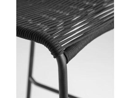 Černá barová židle LaForma Glenville 100 cm s kovovou podnoží