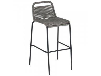 Šedá barová židle LaForma Glenville 100 cm s kovovou podnoží