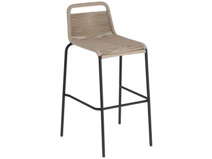 Béžová barová židle LaForma Glenville 100 cm s kovovou podnoží