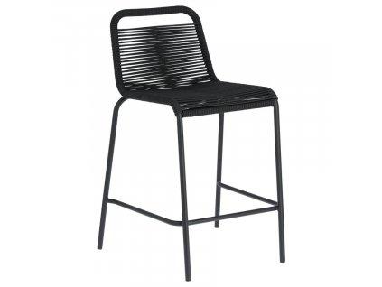 Černá barová židle LaForma Glenville 88 cm s kovovou podnoží