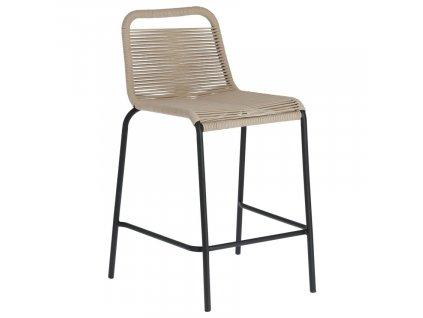 Béžová barová židle LaForma Glenville 88 cm s kovovou podnoží