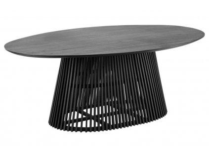 Černý masivní oválný jídelní stůl LaForma Irune 200 x 120 cm