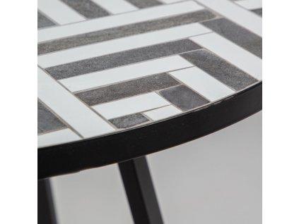 Černo-bílý kulatý kamenný jídelní zahradní stůl LaForma Tella 90 cm s kovovou podnoží